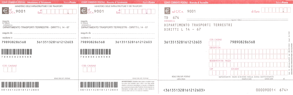 Schede - Bollettini postali - Agenzia delle Entrate